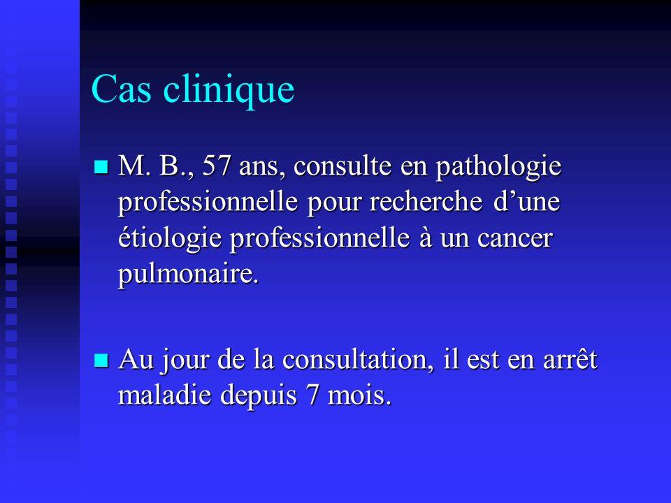 Cas clinique M. B., 57 ans, consulte en pathologie professionnelle pour recherche dune étiologie professionnelle à un cancer pulmonaire. M. B., 57 ans
