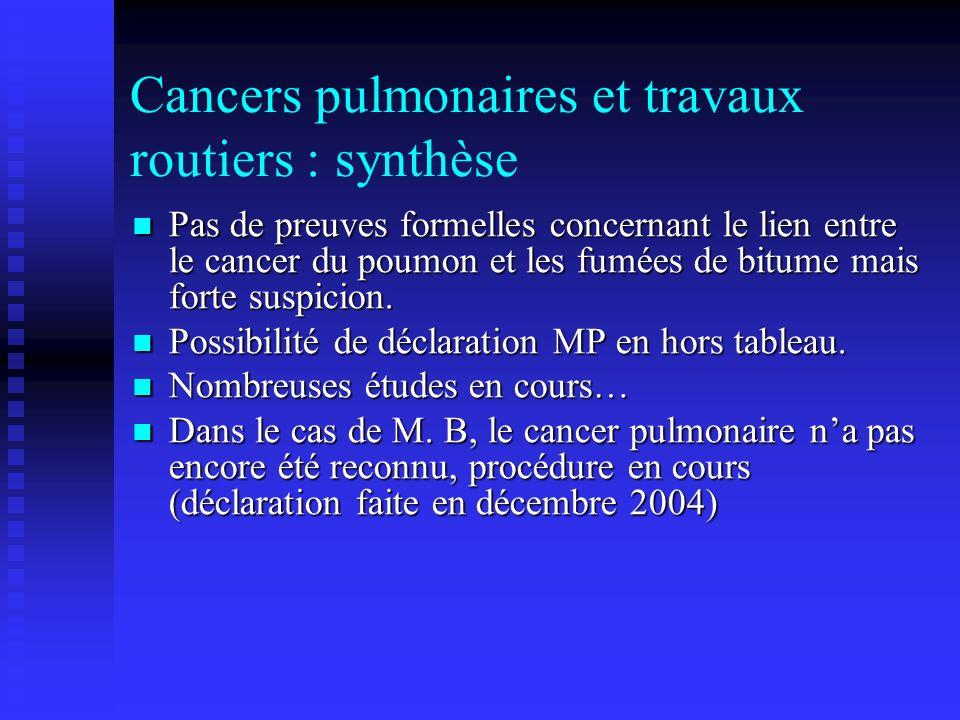 Cancers pulmonaires et travaux routiers : synthèse Pas de preuves formelles concernant le lien entre le cancer du poumon et les fumées de bitume mais