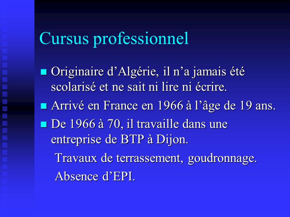 Cursus professionnel Originaire dAlgérie, il na jamais été scolarisé et ne sait ni lire ni écrire. Originaire dAlgérie, il na jamais été scolarisé et