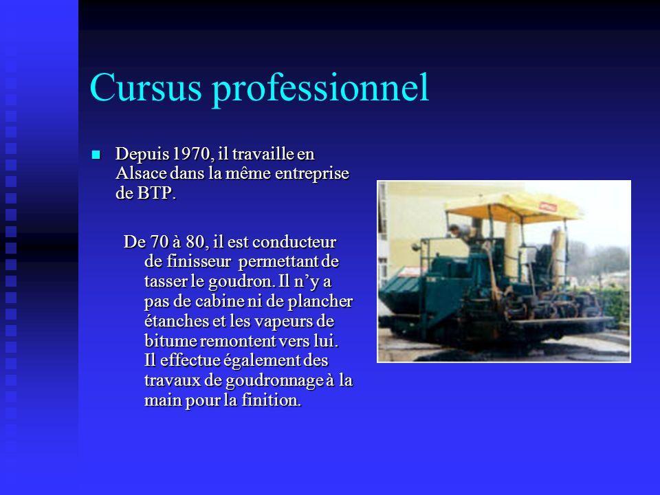 Cursus professionnel Depuis 1970, il travaille en Alsace dans la même entreprise de BTP. Depuis 1970, il travaille en Alsace dans la même entreprise d