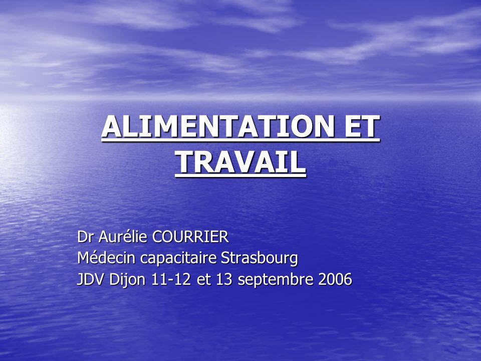 ALIMENTATION ET TRAVAIL Dr Aurélie COURRIER Médecin capacitaire Strasbourg JDV Dijon 11-12 et 13 septembre 2006