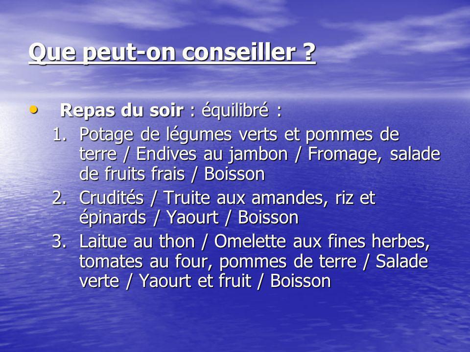Que peut-on conseiller ? Repas du soir : équilibré : Repas du soir : équilibré : 1.Potage de légumes verts et pommes de terre / Endives au jambon / Fr