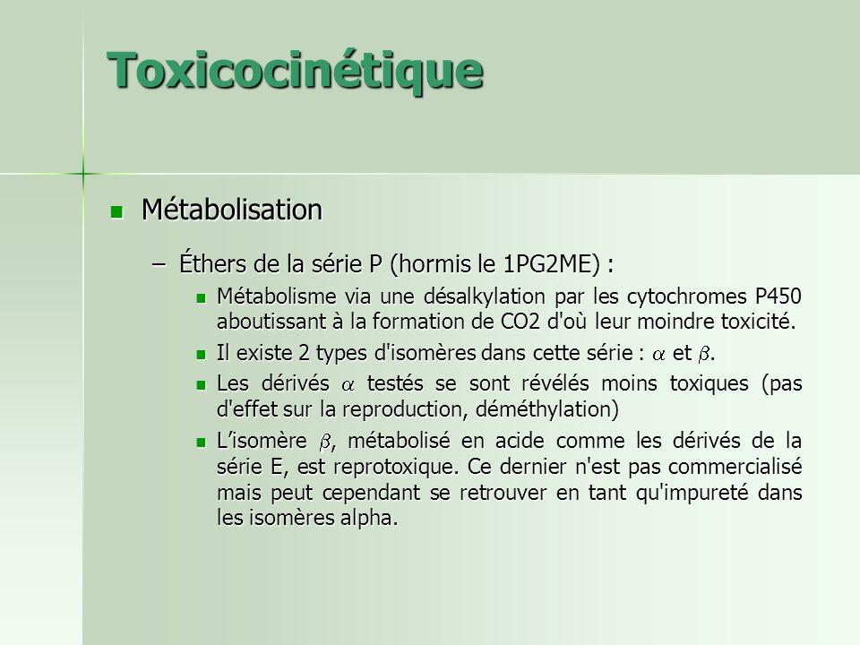 Toxicocinétique Métabolisation Métabolisation –Éthers de la série P (hormis le 1PG2ME) : Métabolisme via une désalkylation par les cytochromes P450 ab