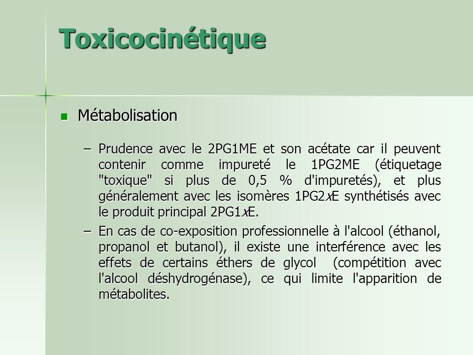 Toxicocinétique Métabolisation Métabolisation –Prudence avec le 2PG1ME et son acétate car il peuvent contenir comme impureté le 1PG2ME (étiquetage
