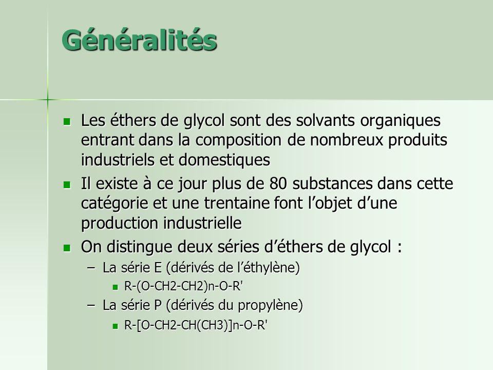 Généralités Les éthers de glycol sont des solvants organiques entrant dans la composition de nombreux produits industriels et domestiques Les éthers d