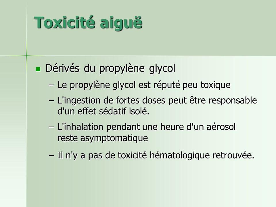 Toxicité aiguë Dérivés du propylène glycol Dérivés du propylène glycol –Le propylène glycol est réputé peu toxique –L'ingestion de fortes doses peut ê