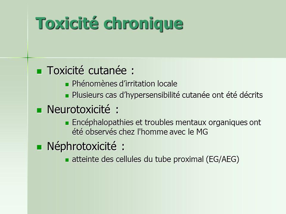 Toxicité chronique Toxicité cutanée : Toxicité cutanée : Phénomènes dirritation locale Phénomènes dirritation locale Plusieurs cas dhypersensibilité c