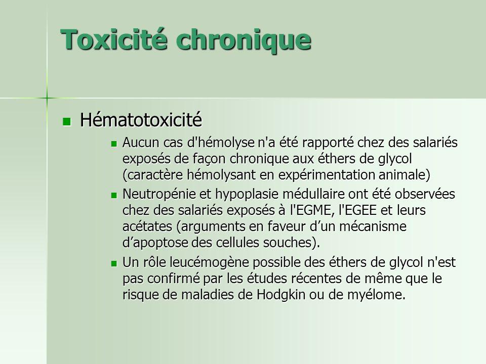 Toxicité chronique Hématotoxicité Hématotoxicité Aucun cas d'hémolyse n'a été rapporté chez des salariés exposés de façon chronique aux éthers de glyc