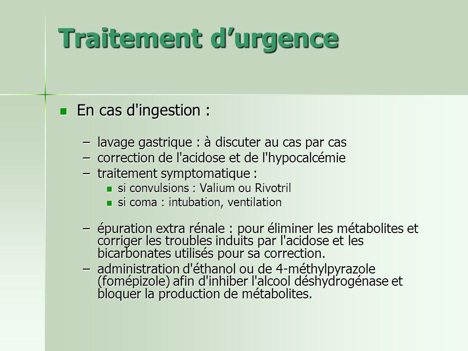 Traitement durgence En cas d'ingestion : En cas d'ingestion : –lavage gastrique : à discuter au cas par cas –correction de l'acidose et de l'hypocalcé