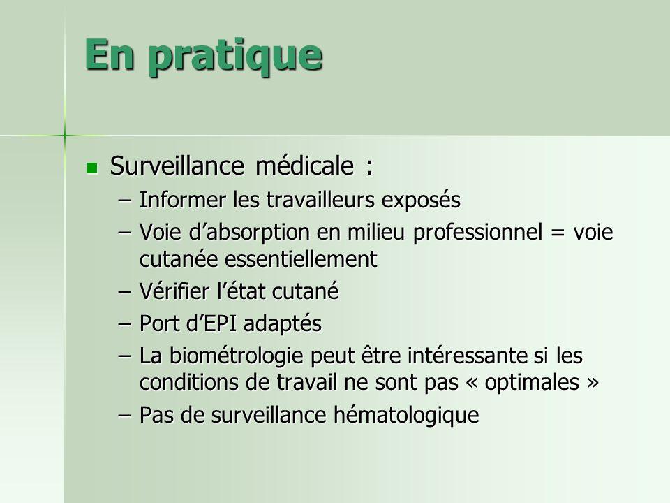 En pratique Surveillance médicale : Surveillance médicale : –Informer les travailleurs exposés –Voie dabsorption en milieu professionnel = voie cutané