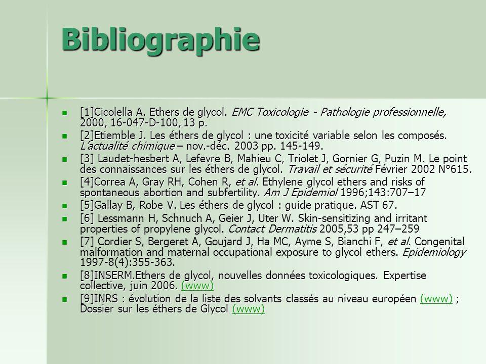Bibliographie [1]Cicolella A. Ethers de glycol. EMC Toxicologie - Pathologie professionnelle, 2000, 16-047-D-100, 13 p. [1]Cicolella A. Ethers de glyc