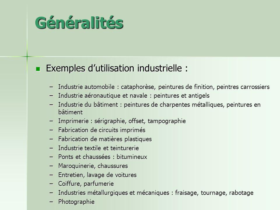 Généralités Exemples dutilisation industrielle : Exemples dutilisation industrielle : –Industrie automobile : cataphorèse, peintures de finition, pein