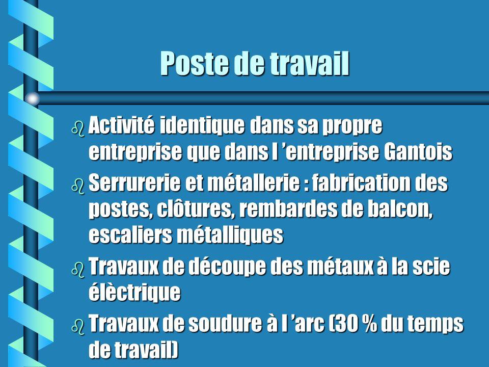 Poste de travail (2) Poste de travail (2) b Meulage des pièces b Peinture au pistolet et traitement anti- rouille b Assemblage et pose chez le client