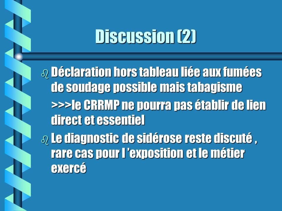 Discussion (3) Discussion (3) b Prélèvement à réaliser lors de l intervention chirurgicale : recherche de particules minérales, oxydes de fer et éventuellement fibres d amiante