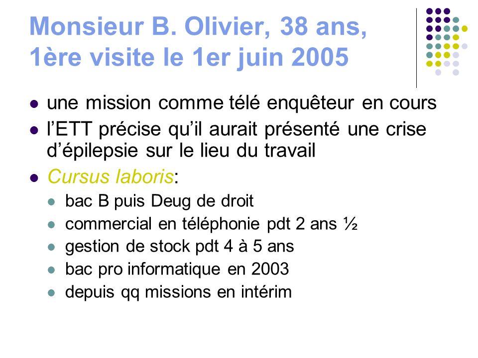 Monsieur B. Olivier, 38 ans, 1ère visite le 1er juin 2005 une mission comme télé enquêteur en cours lETT précise quil aurait présenté une crise dépile