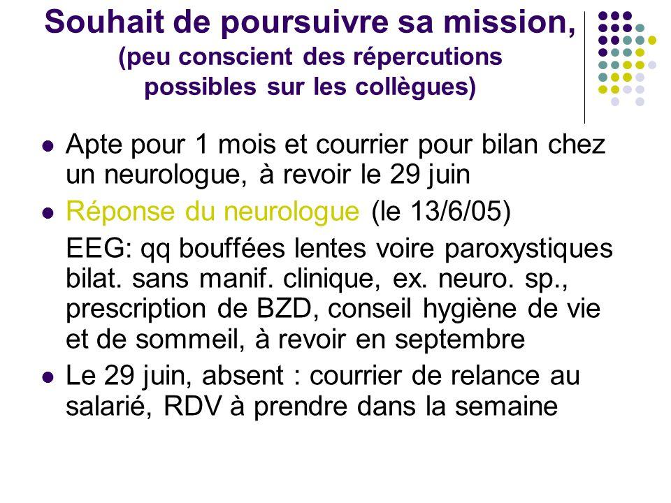 Souhait de poursuivre sa mission, (peu conscient des répercutions possibles sur les collègues) Apte pour 1 mois et courrier pour bilan chez un neurolo