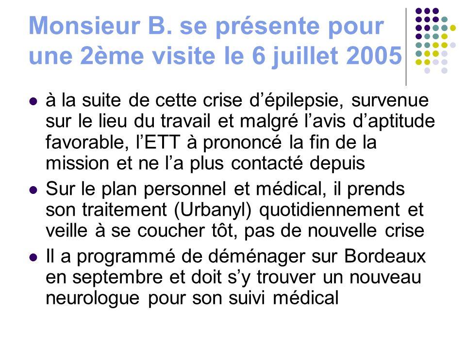 Monsieur B. se présente pour une 2ème visite le 6 juillet 2005 à la suite de cette crise dépilepsie, survenue sur le lieu du travail et malgré lavis d