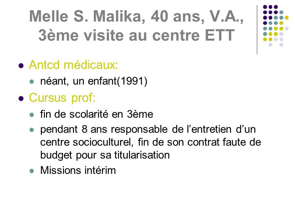 Melle S. Malika, 40 ans, V.A., 3ème visite au centre ETT Antcd médicaux: néant, un enfant(1991) Cursus prof: fin de scolarité en 3ème pendant 8 ans re
