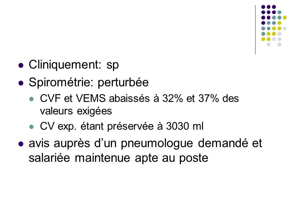 Cliniquement: sp Spirométrie: perturbée CVF et VEMS abaissés à 32% et 37% des valeurs exigées CV exp. étant préservée à 3030 ml avis auprès dun pneumo
