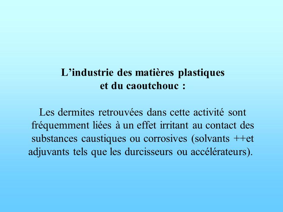 Lindustrie des matières plastiques et du caoutchouc : Les dermites retrouvées dans cette activité sont fréquemment liées à un effet irritant au contac