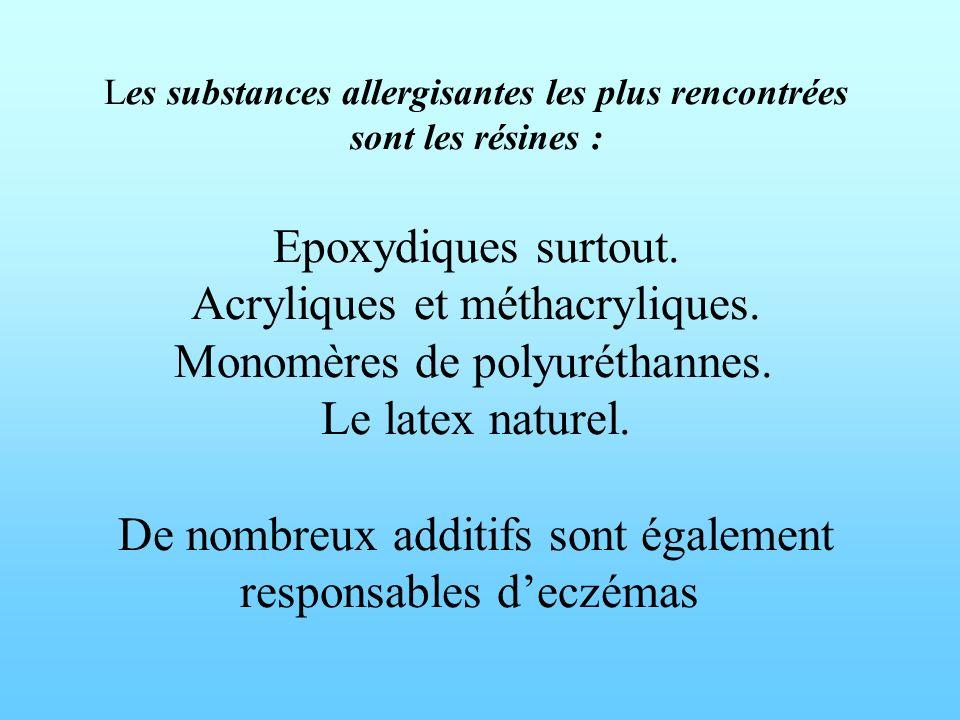 Les substances allergisantes les plus rencontrées sont les résines : Epoxydiques surtout. Acryliques et méthacryliques. Monomères de polyuréthannes. L