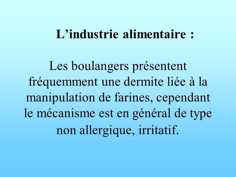 Lindustrie alimentaire : Les boulangers présentent fréquemment une dermite liée à la manipulation de farines, cependant le mécanisme est en général de