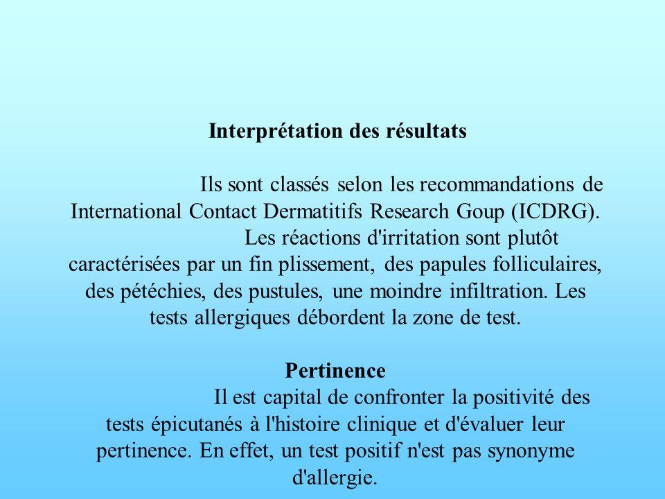 Interprétation des résultats Ils sont classés selon les recommandations de International Contact Dermatitifs Research Goup (ICDRG). Les réactions d'ir