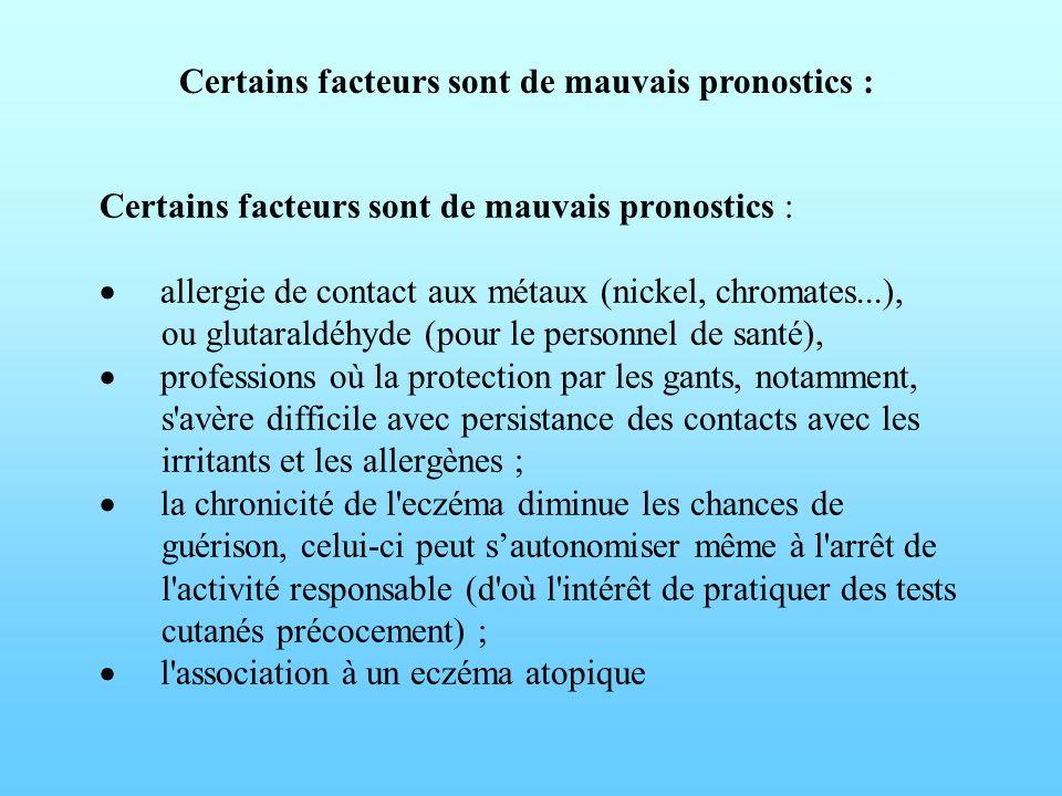 Certains facteurs sont de mauvais pronostics : allergie de contact aux métaux (nickel, chromates...), ou glutaraldéhyde (pour le personnel de santé),