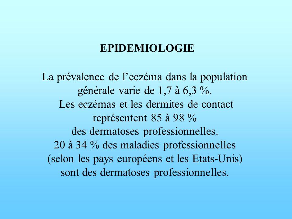EPIDEMIOLOGIE La prévalence de leczéma dans la population générale varie de 1,7 à 6,3 %. Les eczémas et les dermites de contact représentent 85 à 98 %