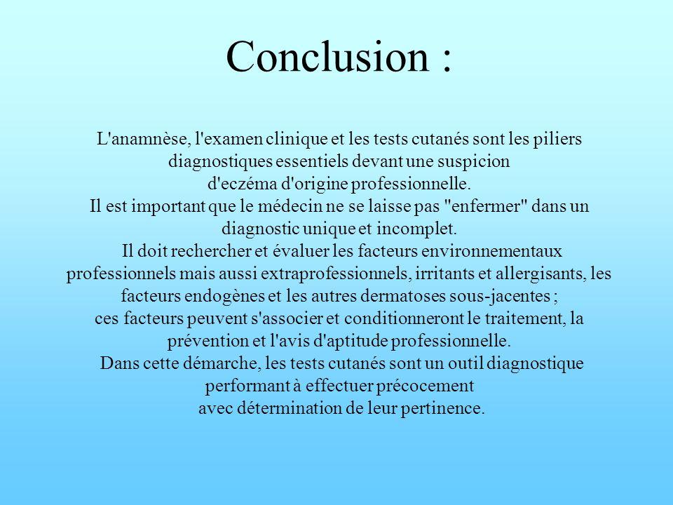 Conclusion : L'anamnèse, l'examen clinique et les tests cutanés sont les piliers diagnostiques essentiels devant une suspicion d'eczéma d'origine prof