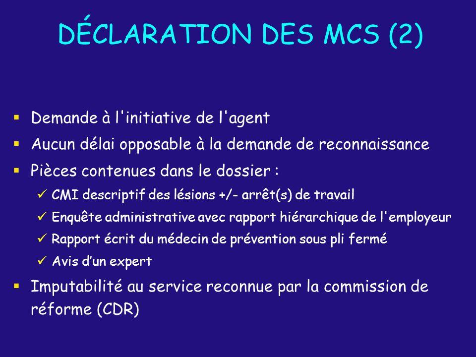 DÉCLARATION DES MCS (2) Demande à l'initiative de l'agent Aucun délai opposable à la demande de reconnaissance Pièces contenues dans le dossier : CMI