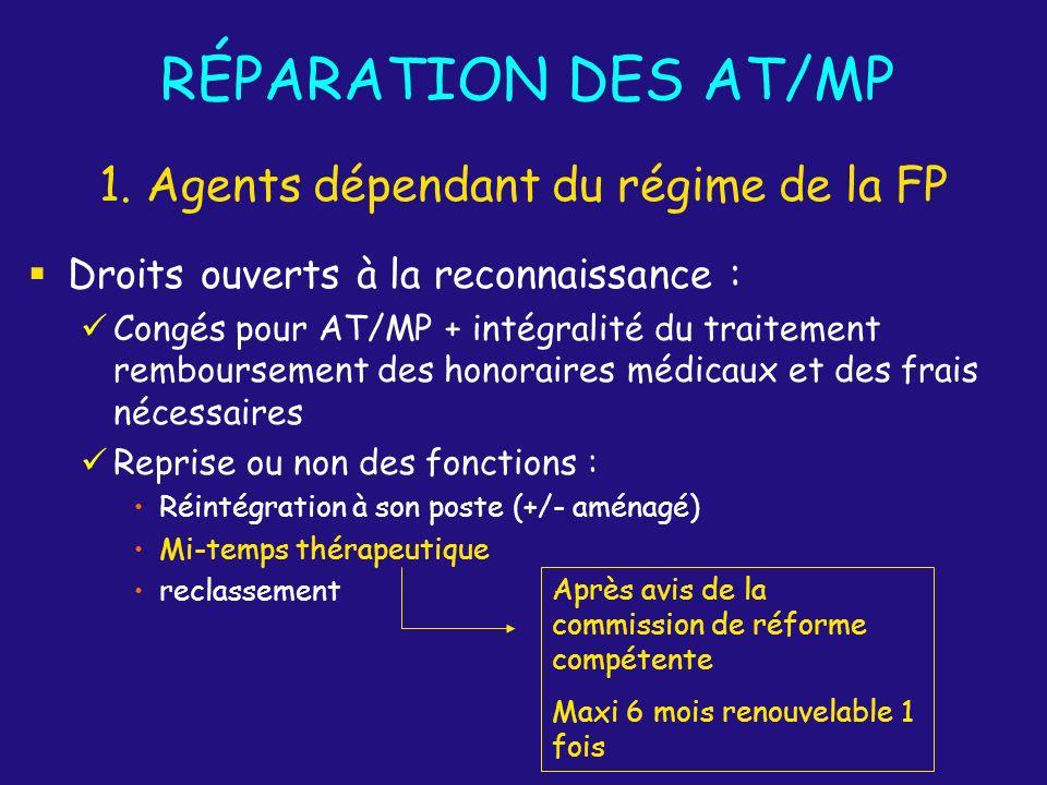 RÉPARATION DES AT/MP Droits ouverts à la reconnaissance : Congés pour AT/MP + intégralité du traitement remboursement des honoraires médicaux et des f