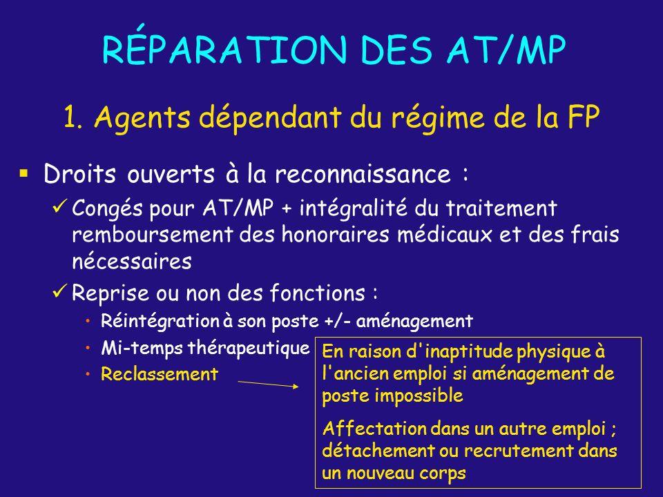 Droits ouverts à la reconnaissance : Congés pour AT/MP + intégralité du traitement remboursement des honoraires médicaux et des frais nécessaires Repr