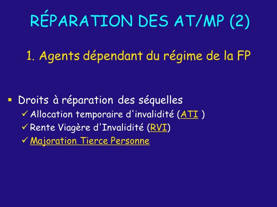 RÉPARATION DES AT/MP (2) Droits à réparation des séquelles Allocation temporaire d'invalidité (ATI)ATI Rente Viagère d'Invalidité (RVI)RVI Majoration