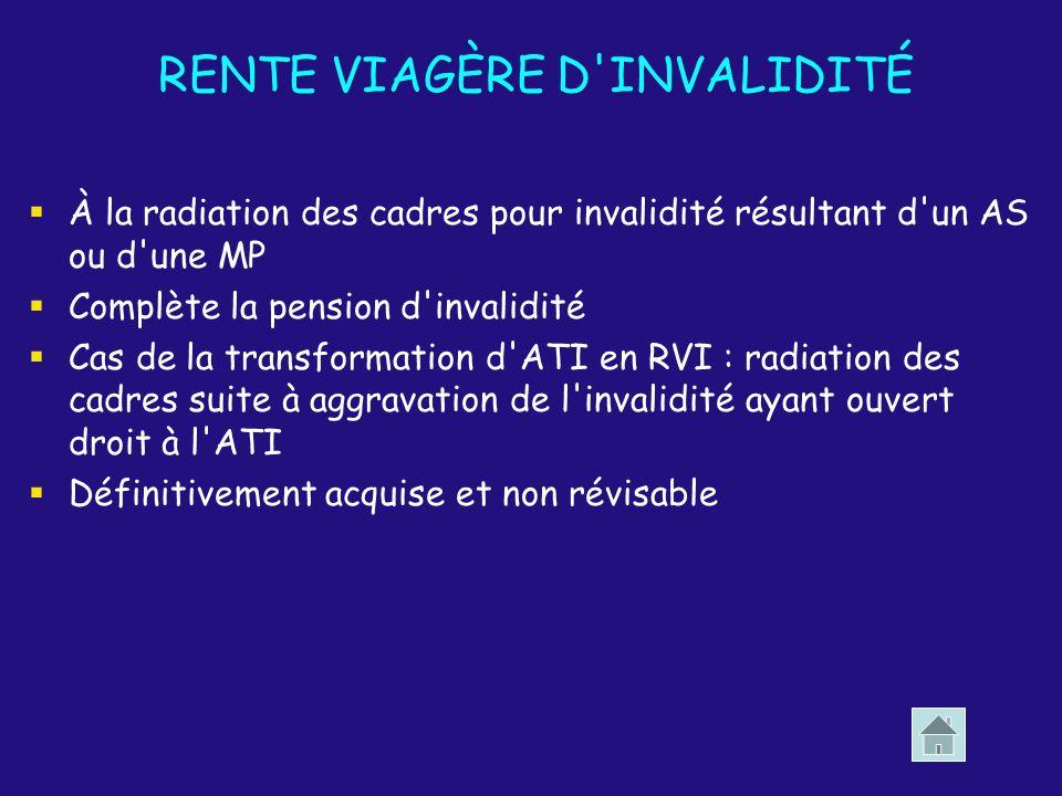RENTE VIAGÈRE D'INVALIDITÉ À la radiation des cadres pour invalidité résultant d'un AS ou d'une MP Complète la pension d'invalidité Cas de la transfor