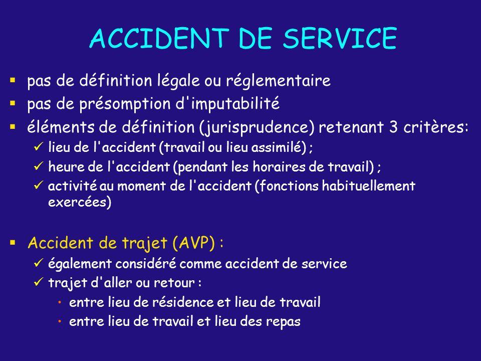 ACCIDENT DE SERVICE pas de définition légale ou réglementaire pas de présomption d'imputabilité éléments de définition (jurisprudence) retenant 3 crit
