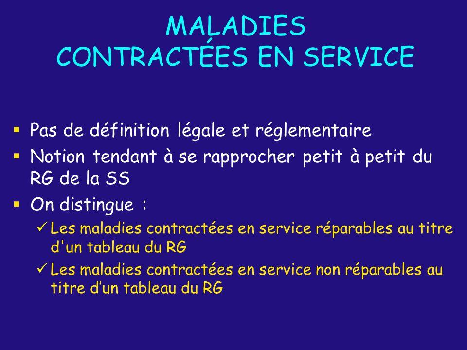MALADIES CONTRACTÉES EN SERVICE Pas de définition légale et réglementaire Notion tendant à se rapprocher petit à petit du RG de la SS On distingue : L