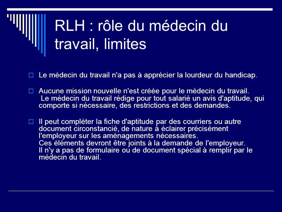RLH : rôle du médecin du travail, limites Le médecin du travail n'a pas à apprécier la lourdeur du handicap. Aucune mission nouvelle n'est créée pour