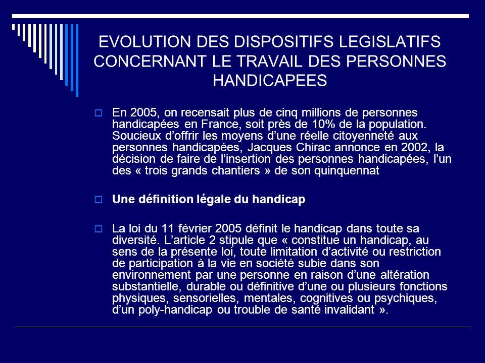 EVOLUTION DES DISPOSITIFS LEGISLATIFS CONCERNANT LE TRAVAIL DES PERSONNES HANDICAPEES En 2005, on recensait plus de cinq millions de personnes handica
