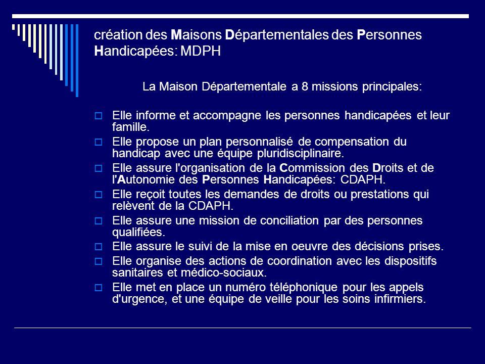 création des Maisons Départementales des Personnes Handicapées: MDPH La Maison Départementale a 8 missions principales: Elle informe et accompagne les