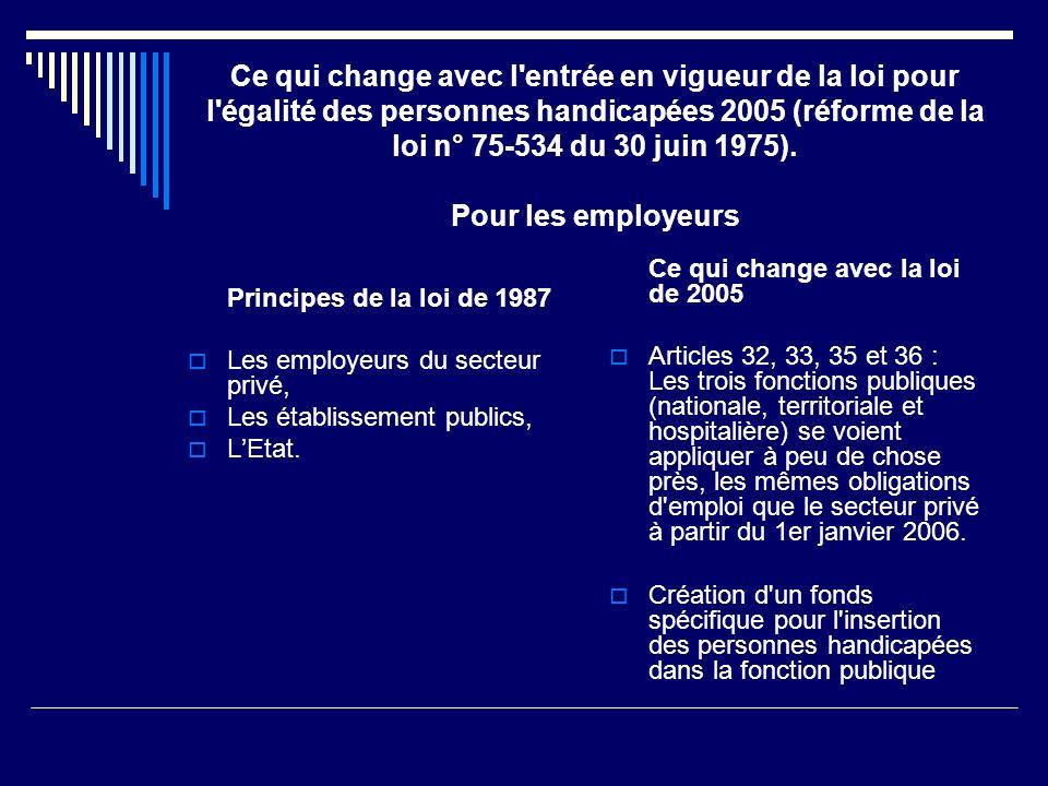 Ce qui change avec l'entrée en vigueur de la loi pour l'égalité des personnes handicapées 2005 (réforme de la loi n° 75-534 du 30 juin 1975). Pour les