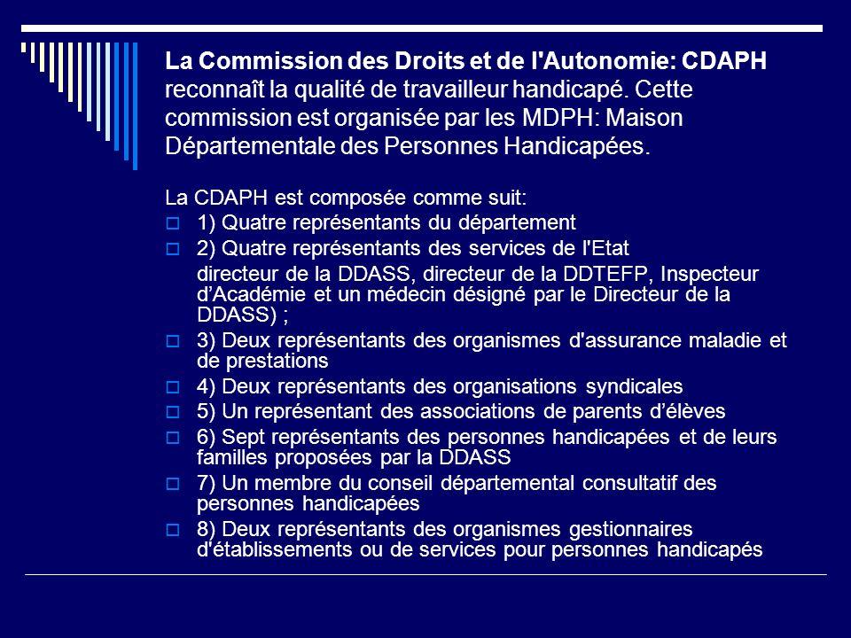 La Commission des Droits et de l'Autonomie: CDAPH reconnaît la qualité de travailleur handicapé. Cette commission est organisée par les MDPH: Maison D