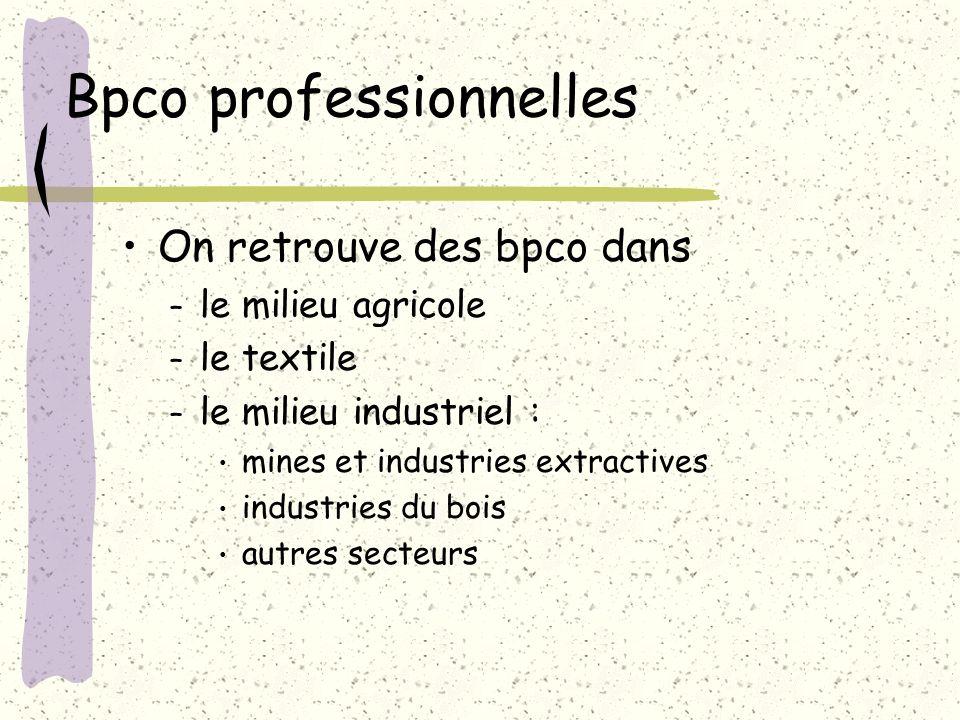 Bpco professionnelles On retrouve des bpco dans – le milieu agricole – le textile – le milieu industriel : mines et industries extractives industries