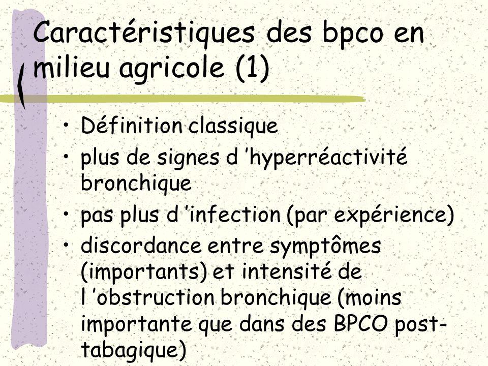 Caractéristiques des bpco en milieu agricole (1) Définition classique plus de signes d hyperréactivité bronchique pas plus d infection (par expérience