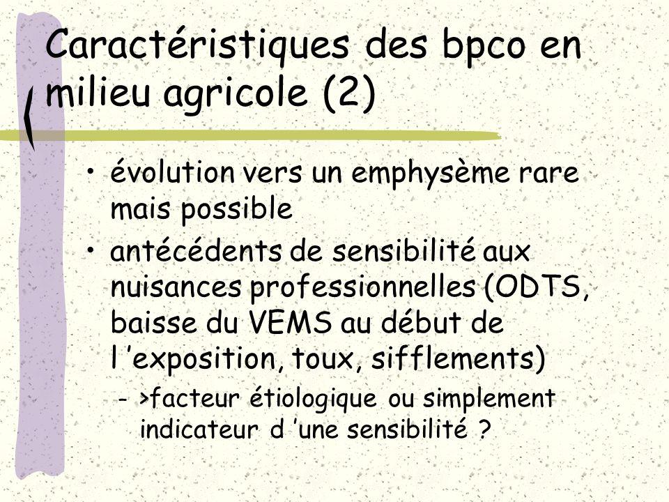 Caractéristiques des bpco en milieu agricole (2) évolution vers un emphysème rare mais possible antécédents de sensibilité aux nuisances professionnel