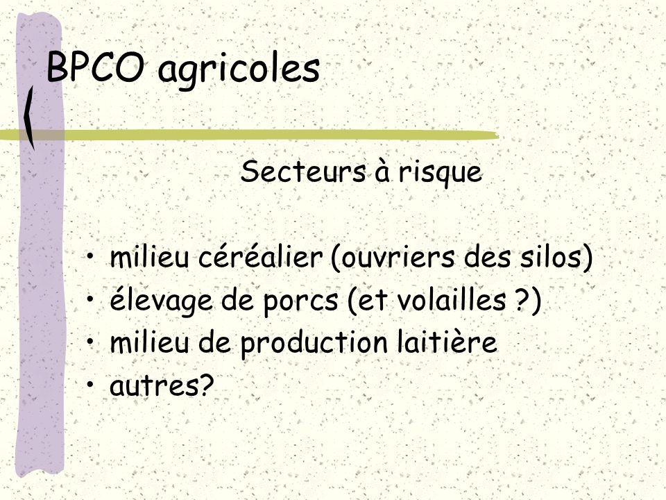 BPCO agricoles Secteurs à risque milieu céréalier (ouvriers des silos) élevage de porcs (et volailles ?) milieu de production laitière autres?