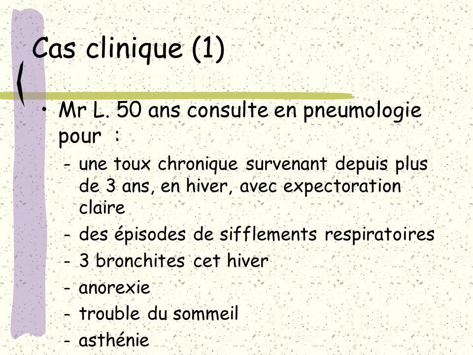 Cas clinique (1) Mr L. 50 ans consulte en pneumologie pour : – une toux chronique survenant depuis plus de 3 ans, en hiver, avec expectoration claire