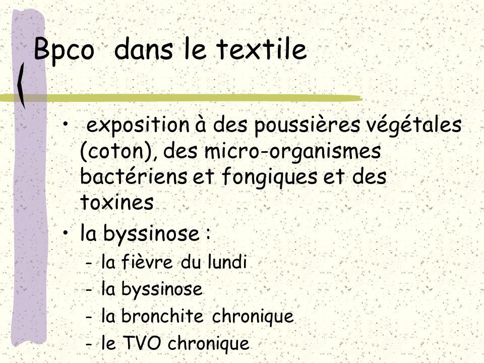 Bpco dans le textile exposition à des poussières végétales (coton), des micro-organismes bactériens et fongiques et des toxines la byssinose : – la fi