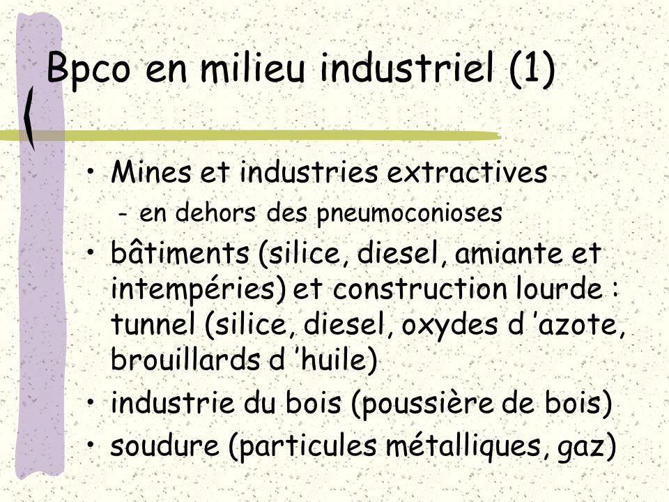 Bpco en milieu industriel (1) Mines et industries extractives – en dehors des pneumoconioses bâtiments (silice, diesel, amiante et intempéries) et con