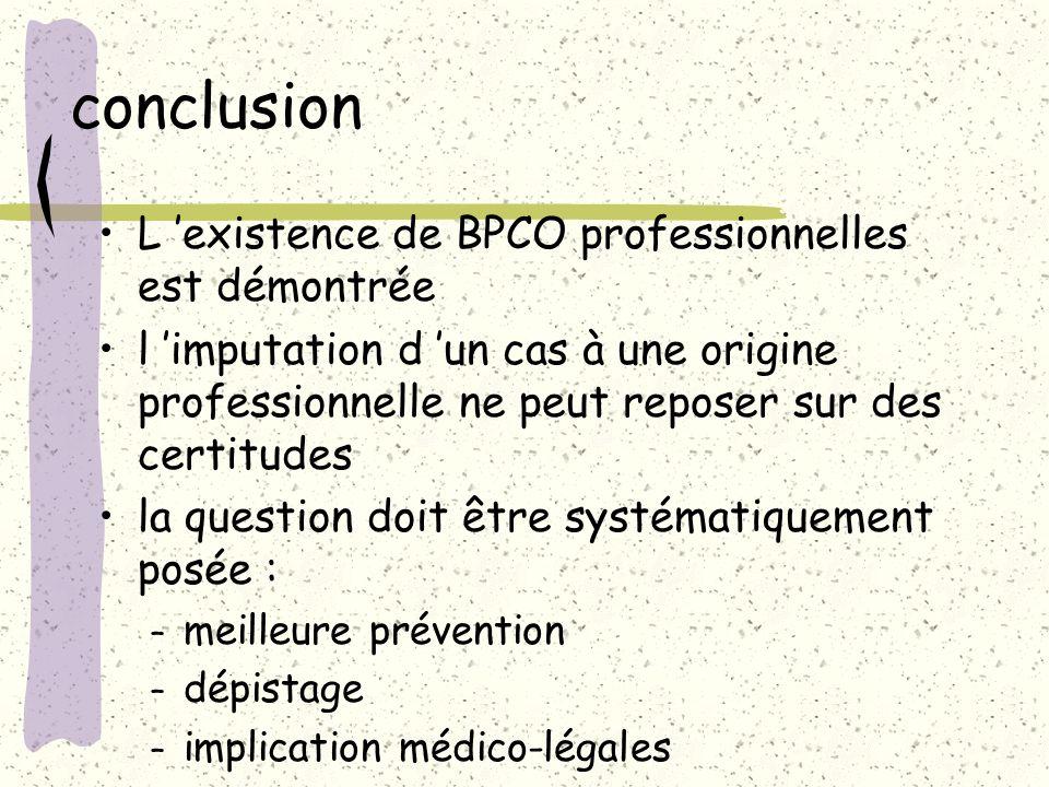 conclusion L existence de BPCO professionnelles est démontrée l imputation d un cas à une origine professionnelle ne peut reposer sur des certitudes l